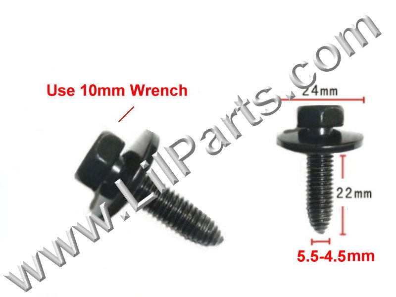 GM Body Fender Bolt Washer Screw Sheet Metal M5 x 22mm 10mm Hex Head Black 13614 11501188 PN:[H2075]