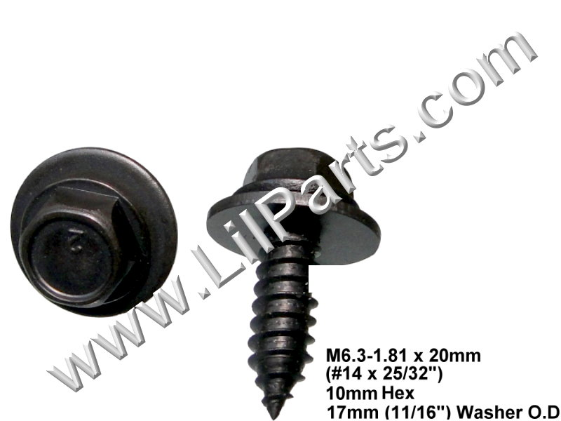 Hex Washer Head Sems Body Fender Screw Bolt A12351 GM 11505022 M6.3-1.81 x 20mm PN:[H2076/H2067]
