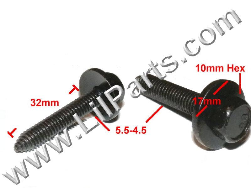 GM Body Fender Bolt Washer Screw Sheet Metal M6 x 1.0 x 32mm 10mm Hex Head Black  PN:[H2084]