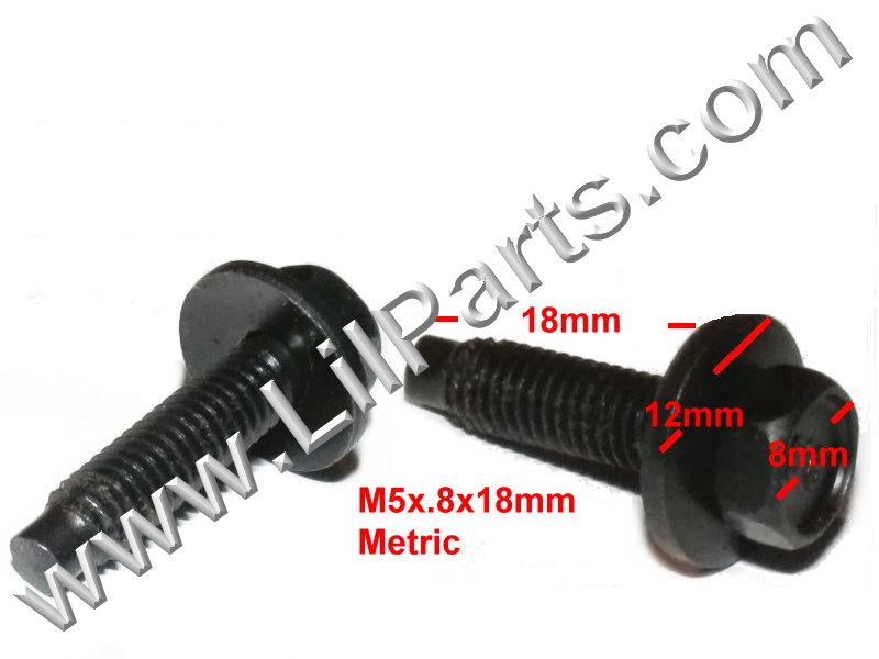 Black Metric Dog Bolt Captive Washer Car Body Fender M5 x .8 x18mm 8mm Hex Trim  PN:[H2085]
