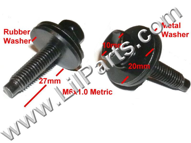 Black Metric Dog Bolt Captive Washer Car Oil Plug Screw M6 x 1 x27mm 10mm Hex  PN:[H2086]