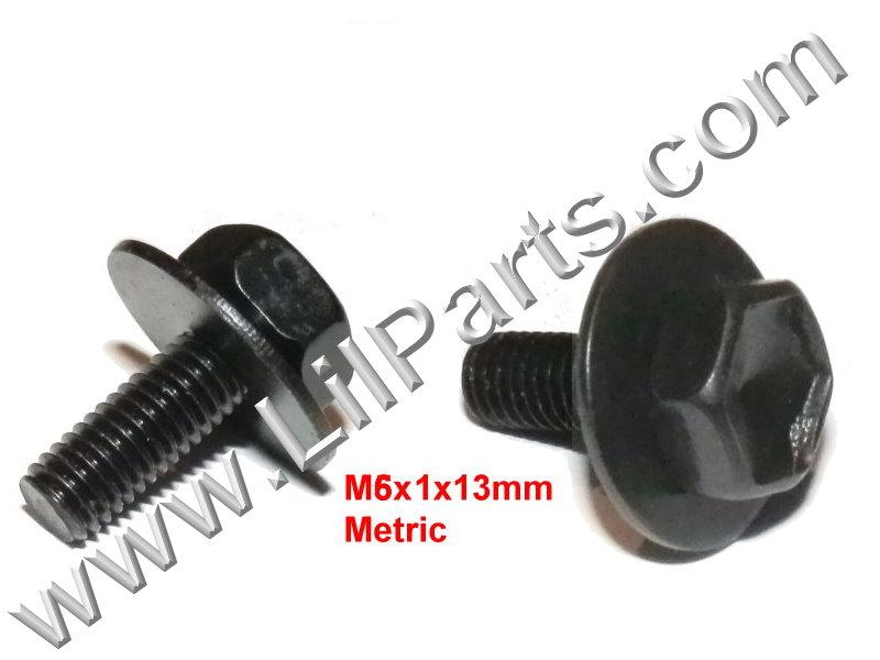 Black Metric Bolt Captive Washer Car Body Fender M6 x 1 10mm Hex Panel Trim  PN:[H2134]