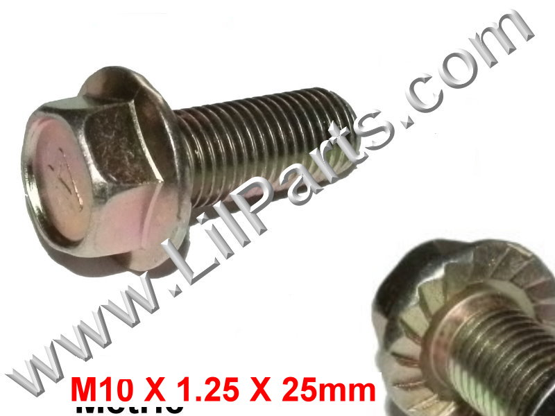 Zinc Plated Flange 10mm Hex Bolts M10 x 1.25 x 1 Metric Disc Caliper Fender Body  PN:[H2060]