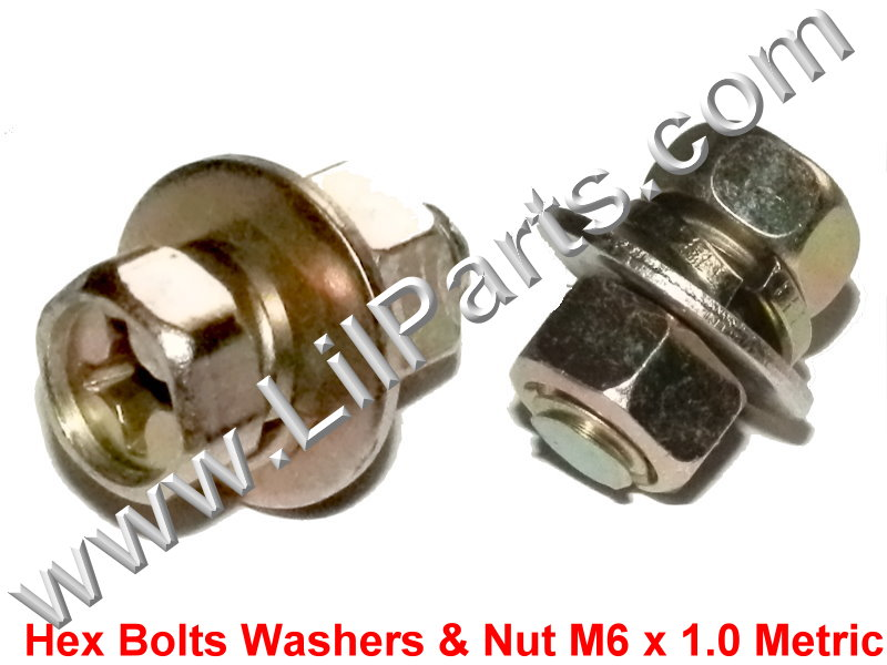 Zinc Plated 6mm Hex Bolts Washers & Nut M6 x 1.0 Metric Thread Fender Body Nissan Infinity PN:[H2062]