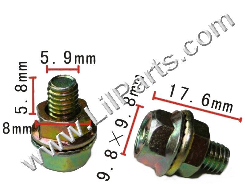 Yellow Zinc Annodized 6mm Hex Flange Bolt & Nut M6 x 1.0 Metric Fender Body  PN:[H2059]