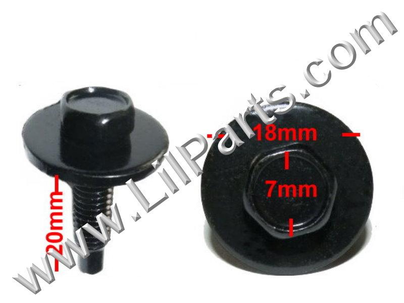 Black Metric Dog Bolt Captive Washer Car Body Fender M5 x .8 x 20mm 8mm Hex Trim  PN:[H2112]