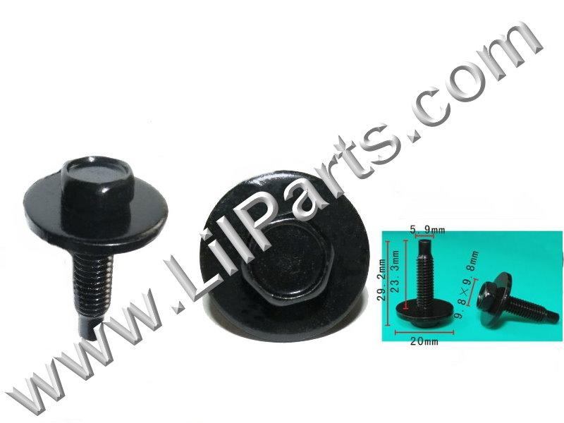 Black 6mm Hex Dog Point SEMS Bolts & Lg Fender Body M6 x 1.0 x 23mm Metric  PN:[H2103]