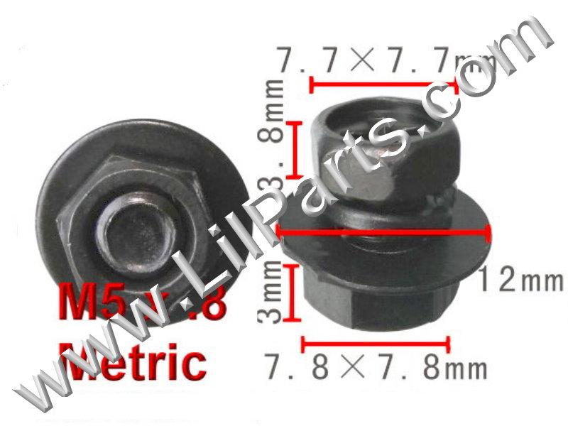 Black 5mm Hex Bolts Washers Nut M5 x .8 Metric Thread Fender Body Panel Trim Car  PN:[H2058]