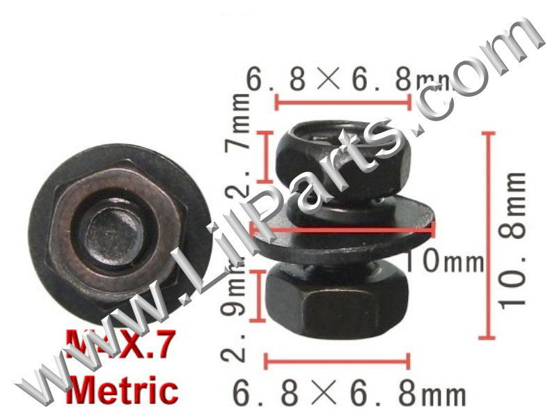 Black 4mm Hex Bolts Washers Nut M4 x .7 Metric Thread Fender Body Panel Trim Car Nissan Infinity PN:[H2057]