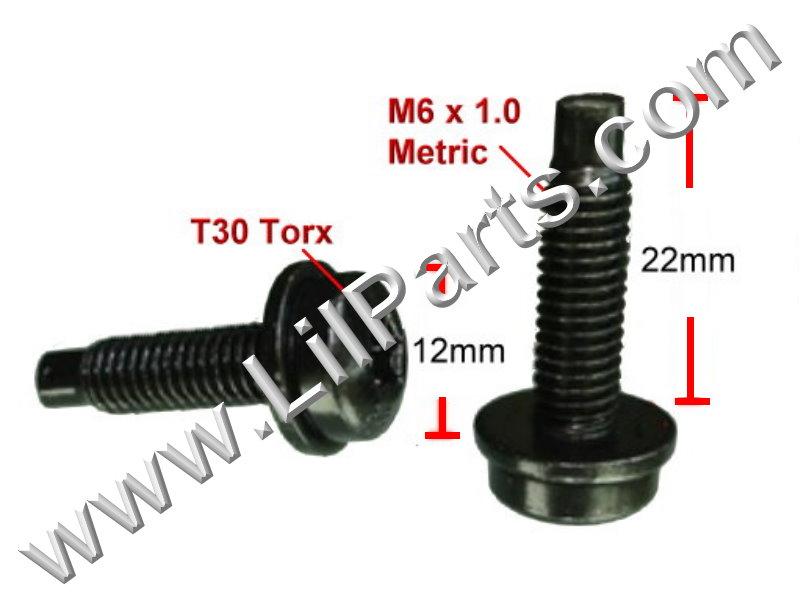 Black T30 Torx Dog Point SEMS Bolt & Washer Fender Body M6 x 1.0 Metric Thread  PN:[H2117]
