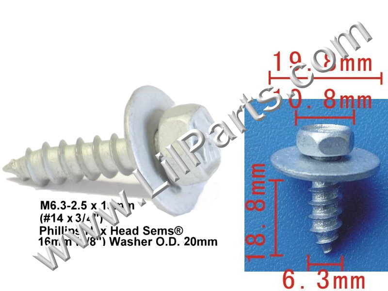 M6.3X19 Metric Hex Phillips Head Loose Washer Sheet Metal Screw PN:[H2008]