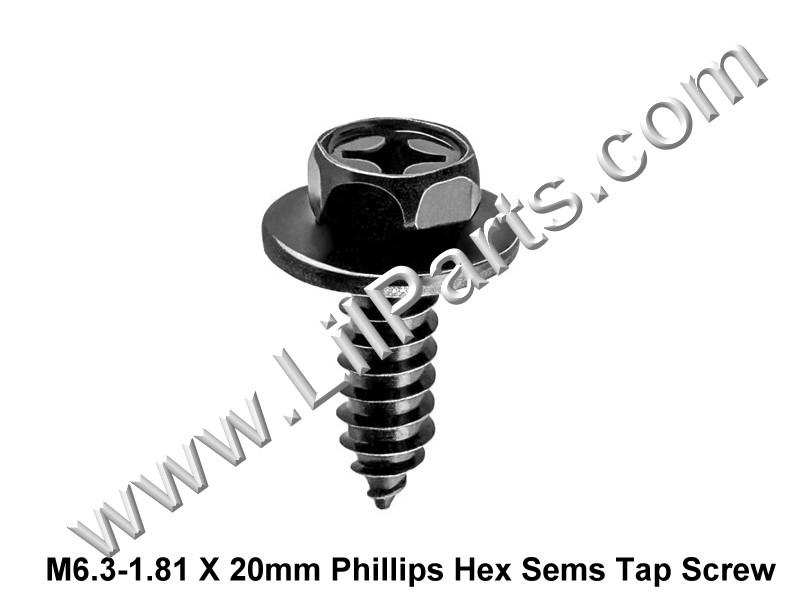 M6.3-1.81 X 20mm Phillips Hex Sems Tap Screws 20556 PN:[H2009] Auveco 20556