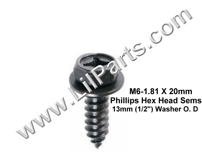 M6-1.81 x 20mm Phillips Hex Head Sems Tapping Screw Mitsubishi MS452348 Auveco 21744 PN:[H2066]