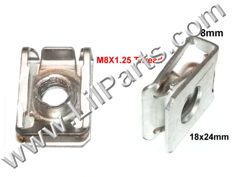 M8-1.25 Zinc Plated U J Fold Over Clip Floating Nut Bolt Washer Sheet Metal Body Fender PN:[H2098]