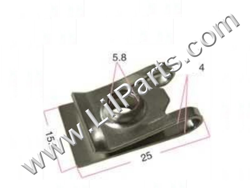 Zinc Plated U J Fold Over Clip On Extruded Nut M6 X 1.0 Dash Metal Body Fender