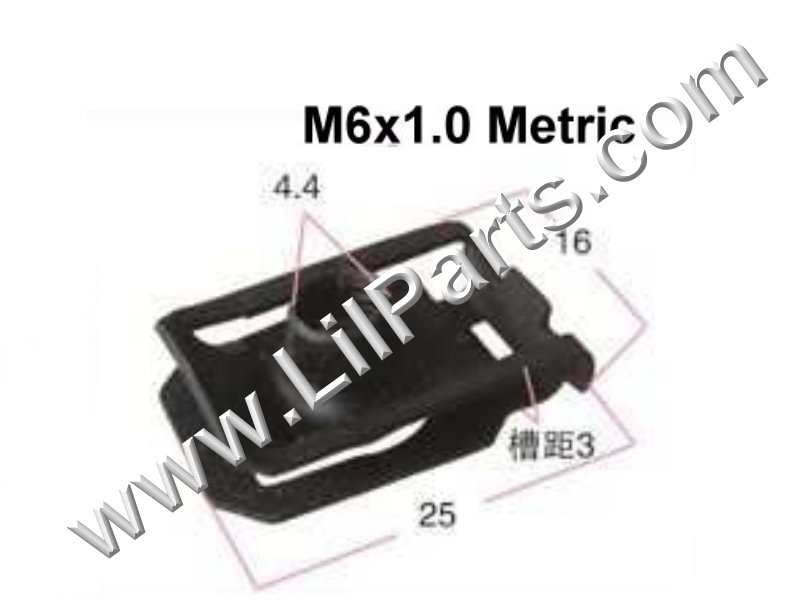 M6-1.0 Black Oxide U J Fold Over Clip On Extruded Nuts M6 X 1.0 Sheet Metal Body Fender PN:[YT2264]