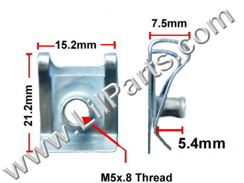 M5-.8 Zinc Plated U J Fold Over Clip On Floating Nut Sheet Metal Body Fender PN:[H2042]