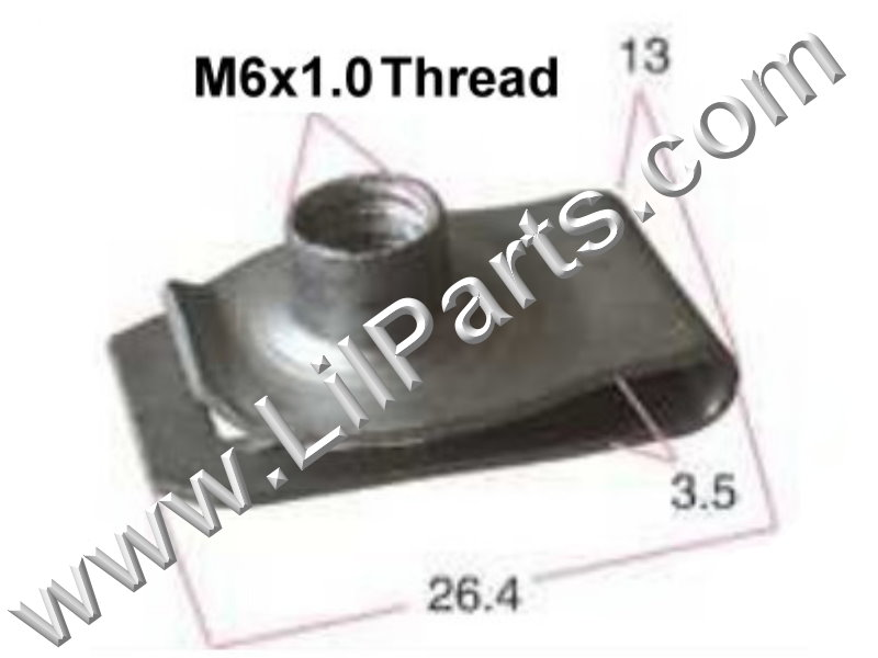 M6-1.0 Zinc Plated U J Fold Over Clip On Floating Nut Sheet Metal Body Fender PN:[YT2257]