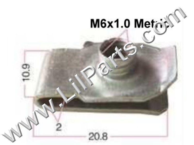 Zinc Plated U J Fold Over Clip On Extruded Nut M6 X 1.0 Sheet Metal Body Fender