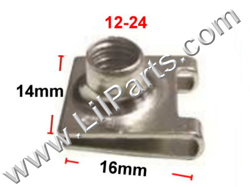 Zinc Plated U J Fold Over Clip On Extruded Nut 12-24 Dash Metal Body Fender