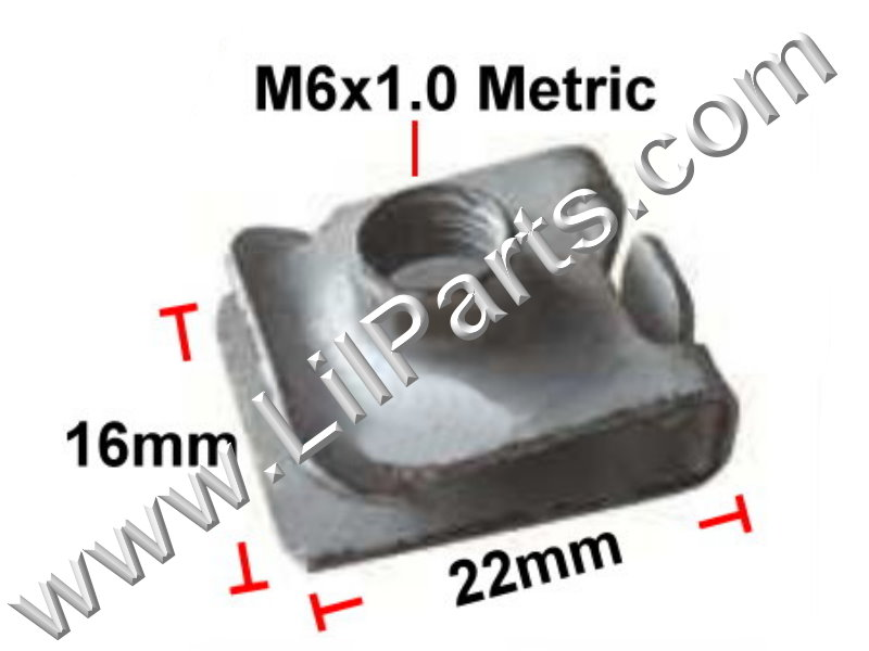M6-1.0 Zinc Plated U J Fold Over Clip On Floating Nut Sheet Metal Body Fender PN:[YT2298]