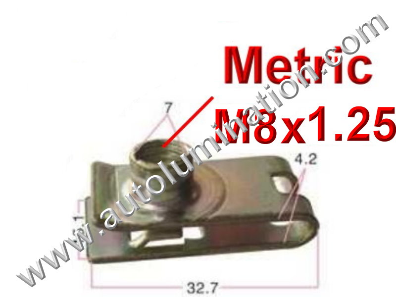 M8-1.25 U J Fold Over Clip On Floating Nut Sheet Metal Body Door Trim Fender PN:[YT2950]